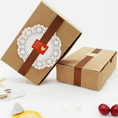 10pcs Brown Paper Box Wedding Party Candy Cake Gift Boxes Corrugated Paper