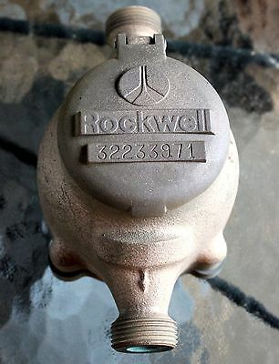 """Brass ROCKWELL Water Meter for 3/4"""" Service Steampunk Industrial Vintage 001"""