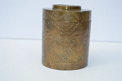 Beautiful Vintage Chinese Carved Jade Inlay On Brass Cigarette Holder Engraved