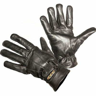 Motorcycle Gloves Leather Black Fully Lined with Kevlar® Protection
