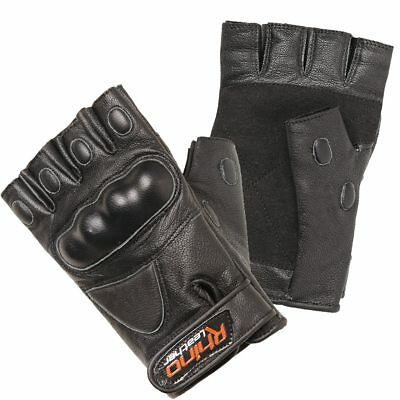 Leather Gloves, Fingerless Gloves, Motorbike Gloves with Hard Knuckle S-3XL