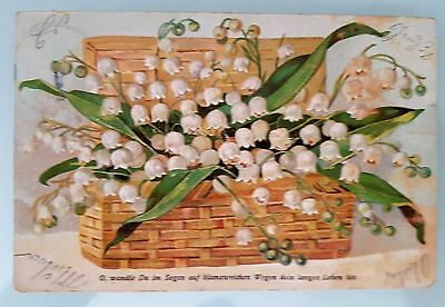 Germany 1900s Used Embossed Post Card Colour Basket of Tulips