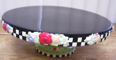 Mary Engelbreit ME Cake Plate Flowers Black Checkered Michel Co 2000