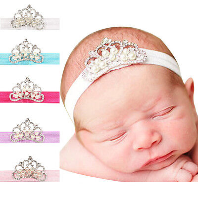 5pcs/lot Baby Girls Toddle Children Headband Pearl Rhinestone Elastic Hair Band