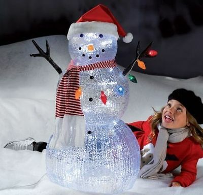 3ft Acrylic Snowman White LED Lights Outdoor Christmas ...