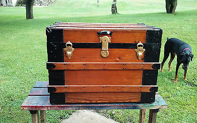 BlackDog Antique Steamer Trunk Flat Top Victorian Chest Stagecoach c:1800