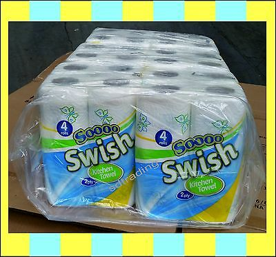 24 x Simple Designer White Kitchen Towel Roll 2 Ply Tissue Paper