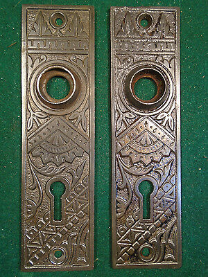 Pair Vintage Circa 1890 Cast Iron Eastlake Backplates     (6000-B)