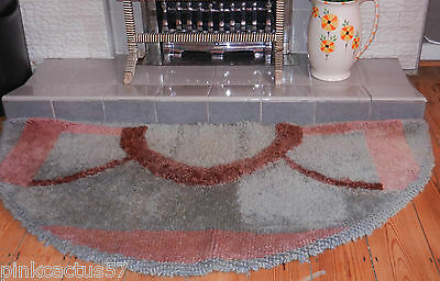 VINTAGE HEARTH RUG 1940s wartime handmade crescent greeny blue & russet wool