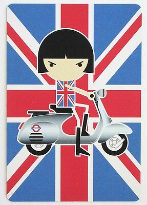 BON BON on the Go-Go mod POP ART postcard VESPA scooter Union Jack Japan anime