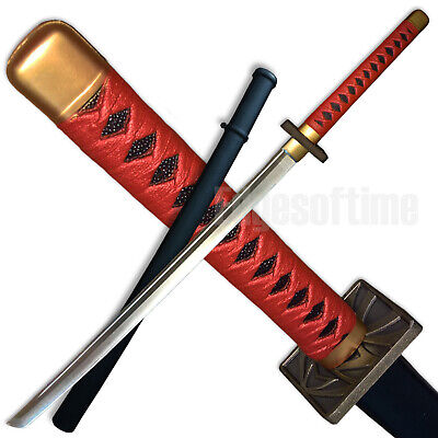 Polypropylene Rubber Martial Arts Red Samurai Training Katana Sword Larp Cosplay