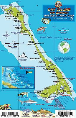 Cat Island Bahamas Dive Map & Reef Creatures Laminated Fish Card Franko Maps