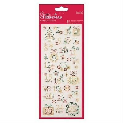 Christmas Advent Numbers 1-24 Glitter Dot Peel Off Stickers Cardmaking Crafts