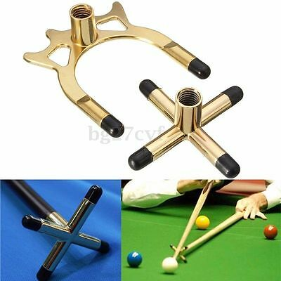 Set of 2 Brass Cross & Spider Holder Rests For Snooker Billiards Table Pool Cue