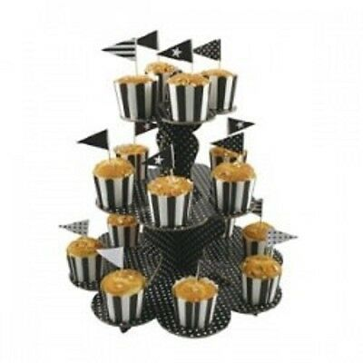 Black Party Supplies Polka Dots Party 3 Tier Cup Cake Stand