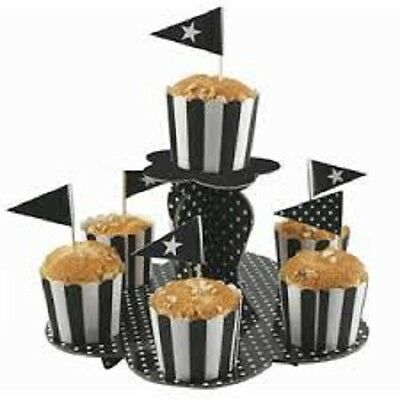 Black Party Supplies Polka Dots Party 2 Tier Cup Cake Stand