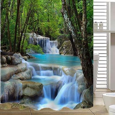 3D Waterfalls Scenery Fabric Bathroom Shower Curtain 12 Hook Home Decor 1.8X2M