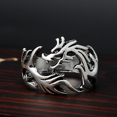 1pcs Man's skull cool rings Ancient Silver finger ring Nightclubs Dragon jewelry