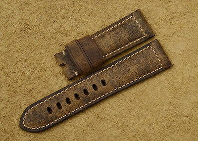 24mm Vintage Brown Genuine Assolumates Leather Watch Band Strap For Panerai