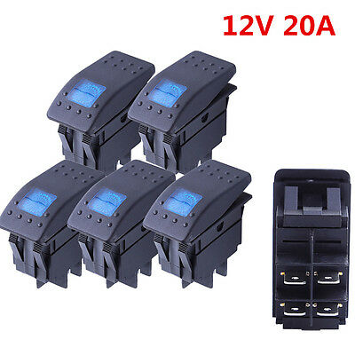5X  Light LED Rear Light 12V20A 10A 4-pin Rocker Toggle Switch Car Boat ATV