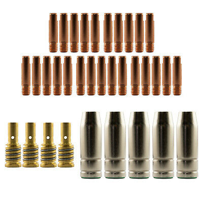 Mig MB15 Conical RH 35 Piece KIT- 1.0mm - Binzel Style - Shroud - Contact Tip SB