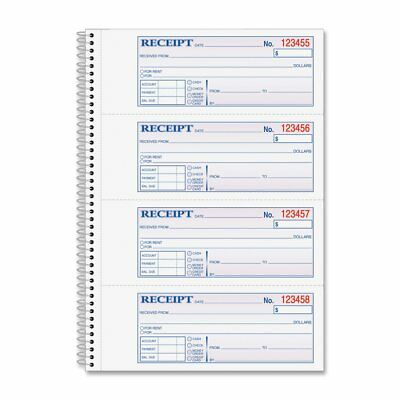Adams Money and Rent Receipt Book, 2-Part Carbonless, 2.75 x 7.13 Inch