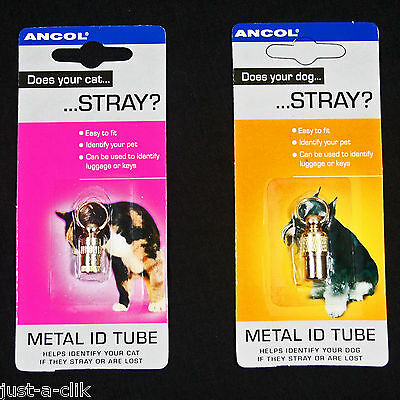 Ancol Cat/dog/baggage Metal Identification Id Tube Helps Find Your Straying Pet