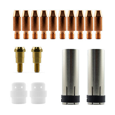 Mig MB24 16 Piece KIT- 0.9mm - Binzel Style - Shroud - Contact Tip - Nozzle SB24