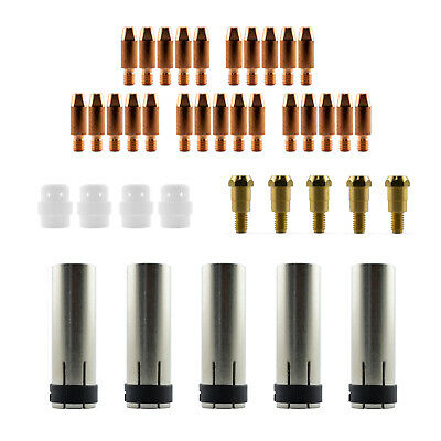 Mig MB24 39 Piece KIT- 1.0mm - Binzel Style - Shroud - Contact Tip - Nozzle SB24