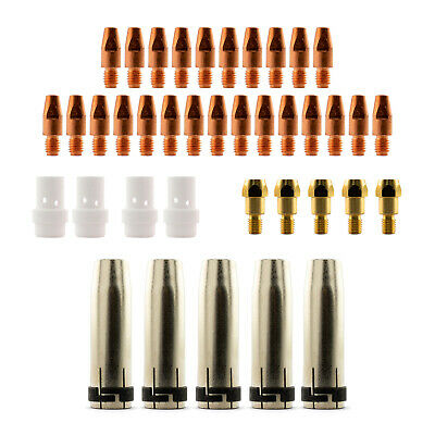 Mig MB36 Conical 39 Piece KIT- 1.0mm - Binzel Style - Shroud - Contact Tip SB36