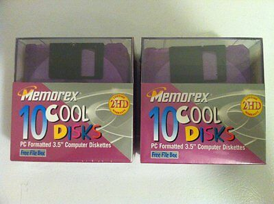 Memorex 2 10-Pack Cool Disks PC Formatted 3.5 inch Color Diskettes 2HD - NEW