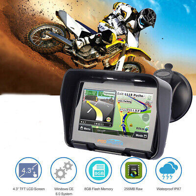 "4.3"" Motorcycle GPS Navigation Motorbike Nav Waterproof 8GB 256M Bluetooth Maps"