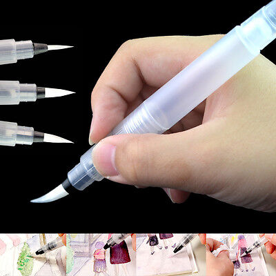 3 X Pilot Water Brush Ink Pen color/Calligraphy/Paint Beginner Art Drawing Tool