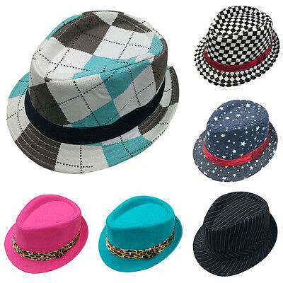 Toddler Baby Kids Boys Girls Canvas Flat Top Fedora Cap Sun Hat Blues Jazz Dance