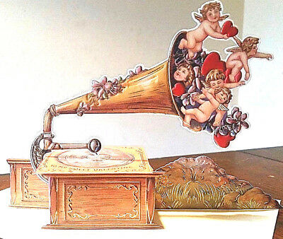 Cupid's Gramophone 3-D Valentine Card with Envelope MINT SEALED Shackman