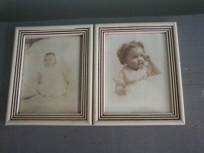 Pair of Vintage White Wood Picture Frames with Glass - 4x5
