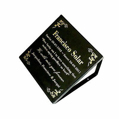 Memorial / Grave marker plaque and stand Laser Engraved Black Granite 300x300mm