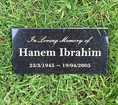 Memorial Grave Marker Custom Laser Engraved Black Granite No Holes  200x100mm