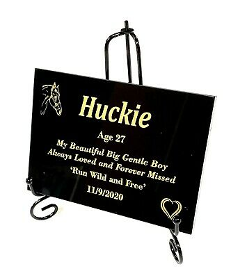 HORSE PET MEMORIAL CUSTOMISED LASER ENGRAVED BLACK GRANITE with stand