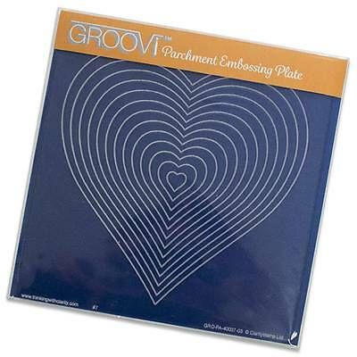 CLARITY STAMP GROOVI Parchment Embossing Plate NESTED HEARTS 40094-03
