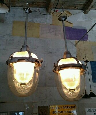 A Pair of Rare Reclaimed Vtg Industrial Triple Glass Holophane Pendants