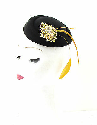 Black Gold Feather Pillbox Fascinator Hat Races Vintage Rhinestone Silver 523