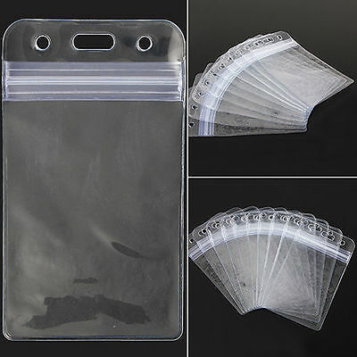 New 10 ID Card Vertical Plastic Badge Holder Vinyl Transparent Clear With Zipper