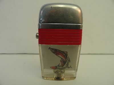Vintage Scripto VU Lighter Large Fish with Red Band Used