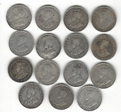 6. LOT OF 15 WORLD COINS AUSTRALIA THREEPENCE .925ag / 1916 - 1934 & INBETWEEN