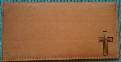 Men's Women's Christian Cross Brown Tan Black GENUINE LEATHER Checkbook Cover