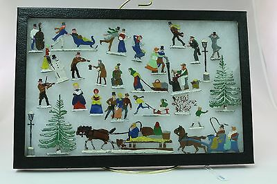 Vintage Hans Heinrichsen German Tin Hinsch Lead Flats Winter Skating Set of 27