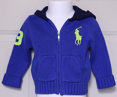 RALPH LAUREN BABY BOY'S ZIP FRONT BLUE CARDIGAN HOODED SWEATER with LIME PONY