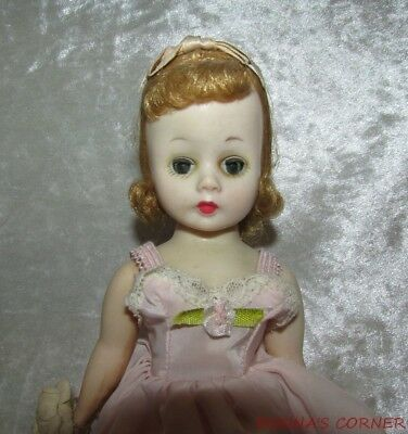 Vintage Blonde Madame Alexander Doll~Cissette In Tagged Pink Slip & Panties