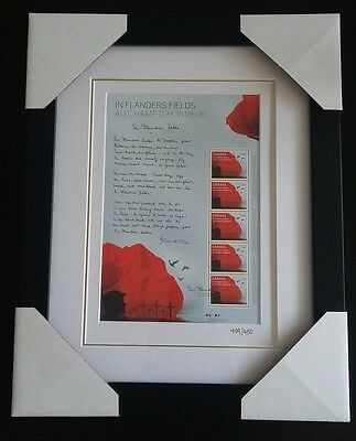 In Flanders Fields: Canada Post 2015 Special Pane - Framed with COA #409 of #450